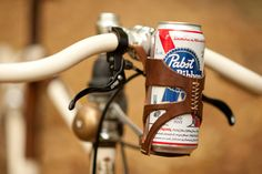 leather bicycle beer holder