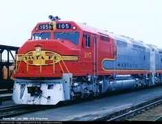 RailPictures.Net Photo: ATSF 105 Atchison, Topeka & Santa Fe (ATSF) EMD FP45 at Belen, New Mexico by K.B. King (Jim Spears collection)