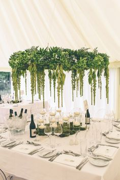 Foliage Chandelier For Wedding Reception - Annasul Y Wedding Dress For A Greenery Filled Marquee Wedding In The North West With Images From Emma Boileau Photography #weddingdress