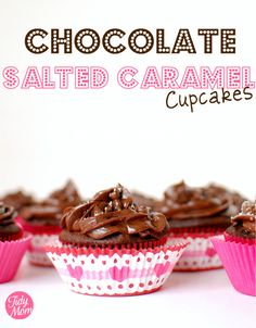 #Chocolate Salted Caramel Cupcakes #recipe at TidyMom.net