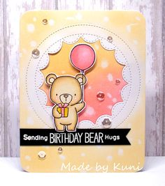 Birdie Brown Beary Special Birthday stamp set and Die-namics - Annett Näther… Cat Cards, Kids Cards, Scrapbooking, Scrapbook Cards, Card Making Inspiration, Making Ideas, Mft Stamps, Shaker Cards, Cards For Friends