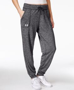 Super-soft heathered Ua Tech fabric makes these Under Armour pants comfortable as well as stylish.   Polyester   Machine washable   Imported   High rise: waistband sits at or above natural waist   Sli