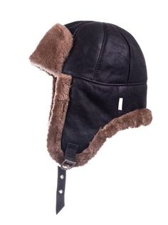 1c2deb5e23b Men s SHEEPSKIN hat Winter LEATHER cap Trapper hat Pilot cap Ushanka  Leather beanie Black hat with earflaps