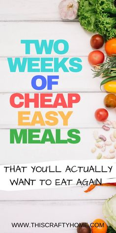 14 budget recipes, cheap easy meals you should try - Cheap, easy meals on a budget! Two whole weeks worth of cheap meals on a budget for the whole famil - Cheap Meals For 2, Cheap Meal Plans, Easy Meals For Two, Easy Meal Plans, Cheap Dinners, Healthy Meals For Two, Meals For The Week, Cheap Family Meals, Kid Meals