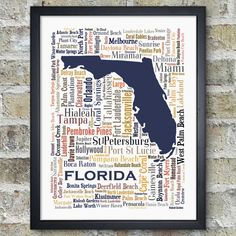 Florida Cities and Towns - City Map Art Typography Word Cloud Print    This typography city map art print features the cities & towns in Louisiana