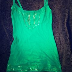 SALE! BCBG Max Azria emerald green beaded tank Soft rayon and angora tank with beautiful green beading at the top and bottom, some pilling on the side BCBGMaxAzria Tops Tank Tops