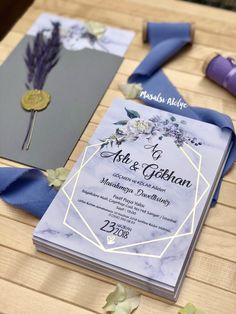purple geometric wedding invitations with blooming flowers, gold foil, watercolor wedding invitations, spring weddings Card Invitation, Wedding Invitation Cards, Invitation Design, Wedding Stationery, Wedding Cards, Diy Wedding, Wedding Favors, Wedding Events, Dream Wedding