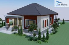 This house concept is simple in design yet the touch of elegance is still in it. With 3 bedrooms, this house is 143 square meters total floor area. 3 Storey House Design, Two Story House Design, One Storey House, Simple House Design, Modern House Design, Little House Plans, Dream House Plans, Modern House Plans, Modern Bungalow House