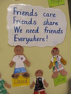 social emotional, friendship Poem could be reworked and enhanced. Kindergarten Bulletin Boards, Preschool Classroom, Classroom Decor, Preschool Activities, Friends Bulletin Board, Toddler Bulletin Boards, Holiday Classrooms, Motor Activities, Physical Activities