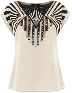Oasis Tribal Placement Tee in White (neutral)