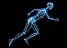Artwork of the figure of a woman running, revealing the skeleton beneath transparent skin.    Credit: Oliver Burston, Wellcome Images.