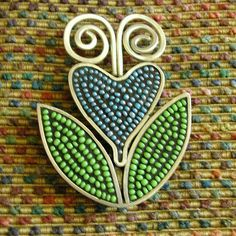 Blue Flower mosaic pin by Duffy Designs