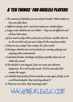 Rules for ukulele players