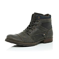 Brown leather military boots - boots - shoes / boots - men