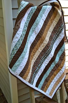 Baby boy brown and blue strip quilt by newlywoodwards, via Flickr
