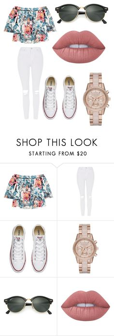 """"" by marianapg01 ❤ liked on Polyvore featuring Elizabeth and James, Topshop, Converse, MICHAEL Michael Kors, Ray-Ban and Lime Crime"