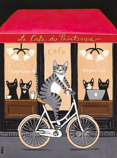 French Cafe Cat on A Bicycle Original Folk Art Painting by KilkennycatArt