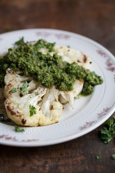 cauliflower steaks with green harissa and brown rice
