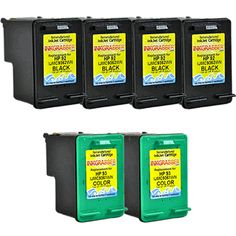 InkGrabber.com 6 PACK COMBO - Remanufactured HP 92/93 Cartridges (4 Black + 2 Color) - replaces the HP C9362WN / C9361WN (HP PSC 1507, HP PSC 1510, HP PSC 1510V, HP PSC 1510XI, HP DeskJet 5420, HP DeskJet 5420V, HP DeskJet 5440, HP DeskJet 5440V, HP DeskJet 5440XI, HP DeskJet 5442, HP DeskJet 5443, HP Photosmart 7850, HP Photosmart C3100, HP Photosmart C3110, HP Photosmart C3125, HP Photosmart C3135, HP Photosmart C3140, HP Photosmart C3150, HP Photosmart C3170, HP Photosmart C3173, more...