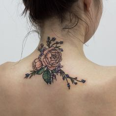 Flowers tattoo on the back of neck for girl
