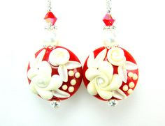 Red Earrings Red Ivory Glass Earrings Red by GlassRiverJewelry, $31.00
