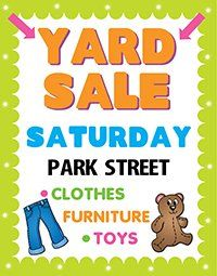 create a poster about yard sale awareness garage sale poster