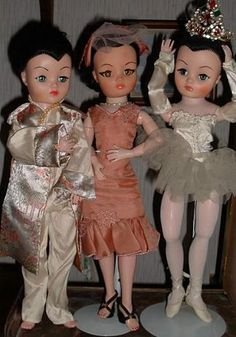 Brunette Uneeda Dollikin Dolls - ballerina - Val's Dollikin collection