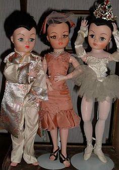 Brunette Uneeda Dollikin Dolls - ballerina - Val's Dollikin collection