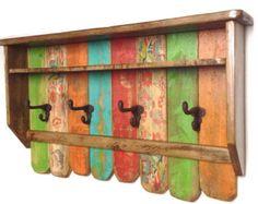 Rustic Farmhouse Entryway Organizer / Wood Shelf with Coat Hooks / Colorful wall hooks / Bathroom Shelves with Rustic Hooks / Boho Vintage Çocuk Odası Hanging Coat Rack, Coat Rack Shelf, Wall Mounted Coat Rack, Cast Iron Coat Hooks, Hat And Coat Hooks, Bohemian Furniture, Bohemian Decor, Reclaimed Wood Shelves, Wood Shelf