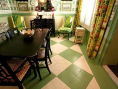 Looks like a parquet wood floor updated with cream and green