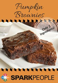 Pumpkin Brownies Recipe. All you need for these lightened-up brownies are three ingredients! | via @SparkRecipes #healthyrecipes #desserts #recipe