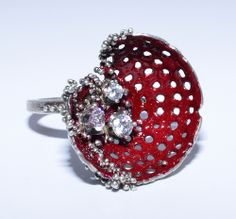 Sofia Georgiopoulou (USA) Decay Ring ~ Eyre Abbey Collection -  ~ Sterling Silver, Cubic Zirconia, Granulation, Vitreous Enamel Ring €437.99 EUR -- US size 7.5 (just my size !!!)