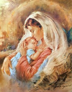 Mother and Child (Reprint on Paper - Unframed) Religious Pictures, Jesus Pictures, Religious Art, Christian Paintings, Christian Art, Virgin Mary Painting, Mother And Child Painting, Advanced Higher Art, Jesus Christ Images