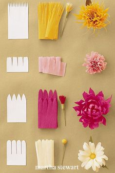 For the continuous-petal technique for making crepe-paper flowers, use a strip of paper cut with a fringe of petals is attached to a stamen, and petals are shaped afterward, sometimes several at a time. #marthastewart #crafts #diyideas #easycrafts #tutorials #hobby