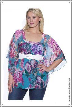 29afe435ab2 Tunique en voile turquoise motif floral collection été femme ronde  lumineuse. Motif Floral