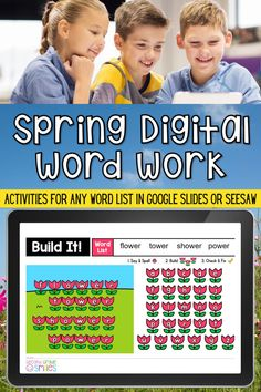 Missing hands-on word work, teachers? This digital word work center set includes spring-themed interactive word work activities for any word list with moveable letter tiles. Use them again and again with any set of spelling words or high-frequency words. Just click to type in your own list! These fun activities are ideal for both distance learning and everyday classroom use in first grade, second grade, third grade, or kindergarten. Word Work Games, Word Work Centers, Word Work Activities, Teaching Second Grade, Third Grade, Digital Word, 2nd Grade Classroom, High Frequency Words, Spelling Words