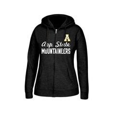 Women's Appalachian State Mountaineers College Cotton Full-Zip Hoodie ($30) ❤ liked on Polyvore featuring tops, hoodies, black, hooded sweatshirt, full zip hoodie, cotton hooded sweatshirt, j america hoodies and full zipper hoodie