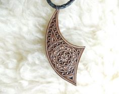 Hand carved leather pendant  - tooled leather jewelry