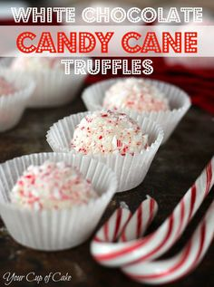 White Chocolate Candy Cane Truffles, these melt in your mouth!