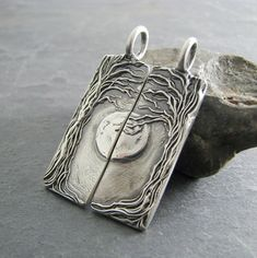 Gorgeous!  Personalized Pendants Set, Beneath The Moon, Artisan Handmade, Fine Silver Completing Pair on Etsy