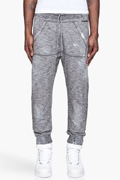 Dsquared2 Black And White Mottled Destroyed Sweatpants for men | SSENSE