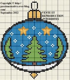 Free cross stitch grid: Christmas Tree Ball. Click on Graph for colour list Cross Stitch Needles, Beaded Cross Stitch, Cross Stitch Charts, Cross Stitch Embroidery, Embroidery Patterns, Cross Stitch Patterns, Christmas Charts, Cross Stitch Christmas Ornaments, Christmas Embroidery
