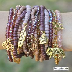 DIY Burgundy Bliss bracelet stack by @dyezbakmoore featuring Bead Gallery beads available at @michaelsstores  Click for full instructions!