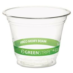 "Eco-Products® - GreenStripe Renewable Resource Compostable Cold Drink Cups, 9 oz., Clr, 50/Pack - Sold As 1 Pack - Made from corn plastic (PLA). by Eco-Products. $9.99. Eco-Products® - GreenStripe Renewable Resource Compostable Cold Drink Cups, 9 oz., Clr, 50/PackA great alternative to conventional plastic. Made with corn-based plastic (PLA), cups are 100% renewable. Printed wrap-around text includes ""Made From Corn."" For cold beverages only. Cup Type: Cold; Capaci..."