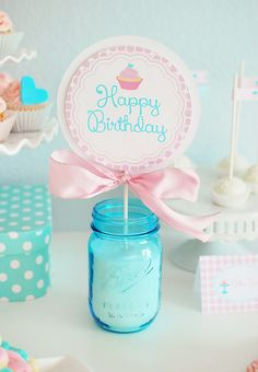 Pink and Aqua Cupcake Theme Party // Hostess with the Mostess®