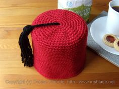 Fez Toilet Paper Roll Cover (Crochet) increase top to fit over head a la beanie.