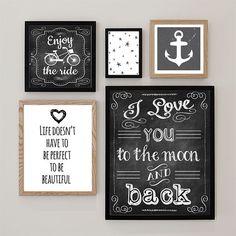 Set van 5 prenten Zwart Wit Illustratie Posters door DesignClaud - 5 prints in black and white with quotes and chalkboard prints.