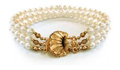 """'Mediterranean Sea' Golden Shell Simulated Pearl Triple Strand 2mm Simulated Pearl Bracelet, 7.5"""". Total Weight: 1 Grams 