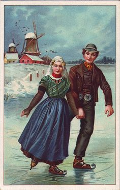 Sweethearts Ice Skating in Holland. Vintage Ephemera, Vintage Cards, Vintage Postcards, Vintage Pictures, Vintage Images, Gravure Illustration, Dutch People, Holland Netherlands, Painting People