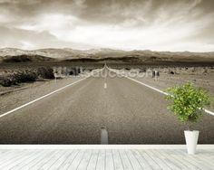 Desert Highway mural wallpaper room setting